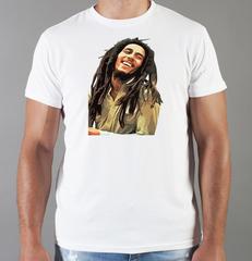 Футболка с принтом Боб Марли (Bob Marley) белая 0012