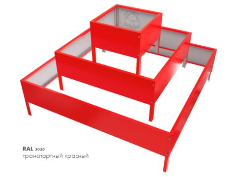 Клумба квадратная оцинкованная Пирамида 3 яруса  RAL 3020 Транспортный красный