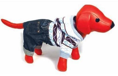 5615041 DEZZIE Свитер д/собак вязаный с капюшоном+синие джинсовые шорты, 25см