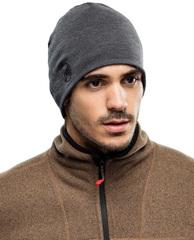 Теплая шерстяная шапка-бини Buff Grey - 2