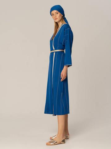 Женское платье синего цвета из вискозы - фото 2