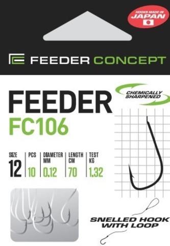 Крючки с поводком FC106 70 см, 0,12 мм, размер 12, упаковка 10 шт.