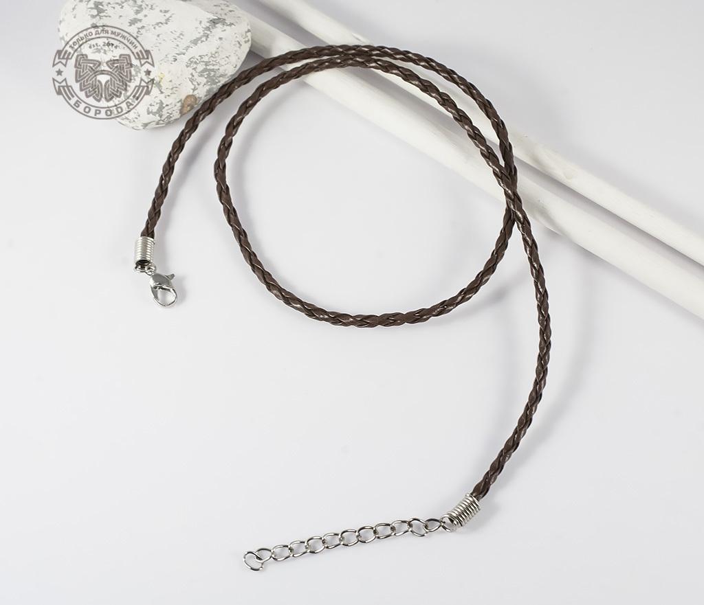 PL260-2 Кожаный шнур коричневого цвета с застежкой (46,5-51 см) фото 02