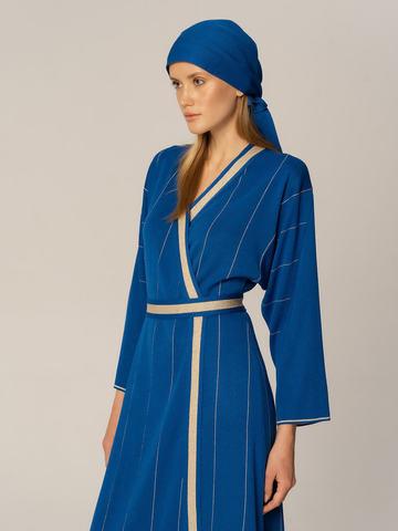 Женское платье синего цвета из вискозы - фото 4