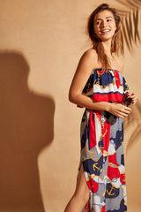 Довга сукня без бретелей з морським принтом