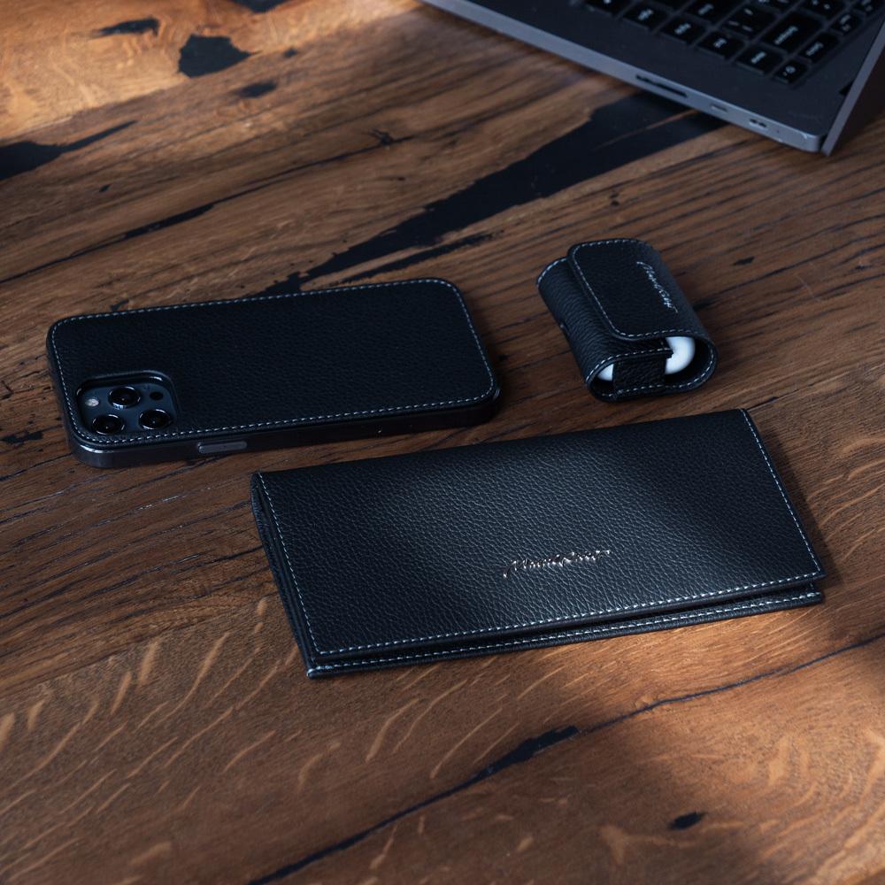 Чехол-накладка для iPhone 12 Pro Max из натуральной кожи теленка, цвета черный мат