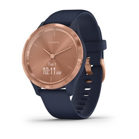 Garmin Vivomove 3s - Rose Gold Stainless Steel Bezel with Navy Case and Silicone Band