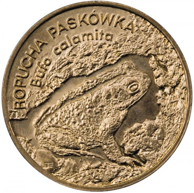 2 злотых Камышовая жаба (животный мир) 1998 год, Польша. UNC