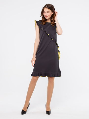 Фото нарядное черное платье-футляр с двухцветными воланами - Платье З159-774 (1)