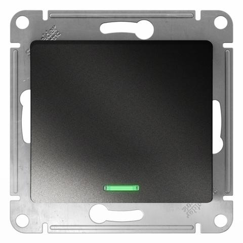 Переключатель одноклавишный с подсветкой, 10АХ. Цвет Антрацит. Schneider Electric Glossa. GSL000763