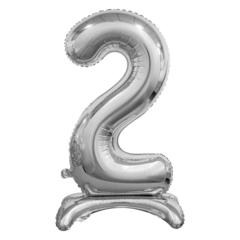 Цифра 2 Серебряная на подставке