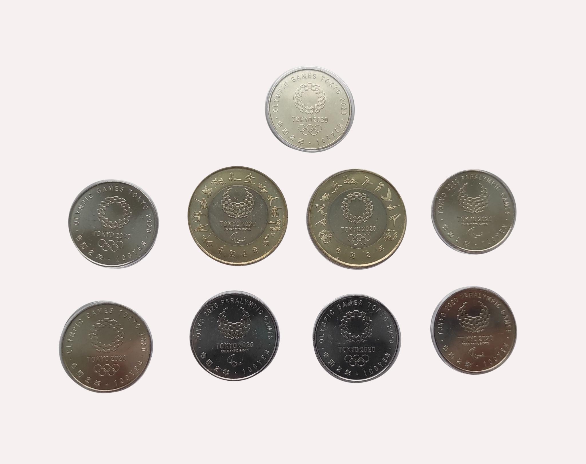 Набор 9 монет Олимпийские игры в Токио 4-й выпуск (7 шт. по 100 йен виды спорта + 2 шт. по 500 йен Талисманы) Япония