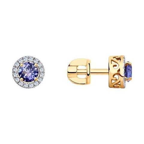 6024068 - Серьги из золота с бриллиантами и танзанитами