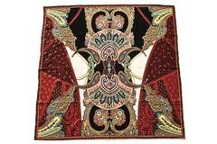 Итальянский платок из шелка бордовый с орнаментом 5507