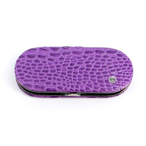 Маникюрный набор GD, 5 предметов, цвет фиолетовый, кожаный футляр