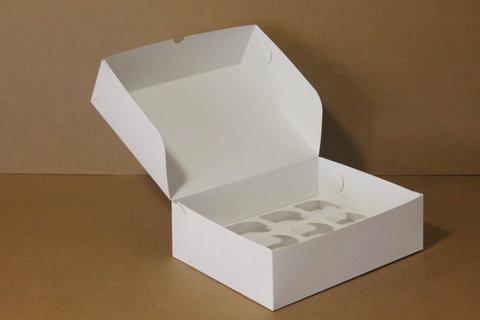 Коробка для 9 капкейков 25*25*10 без окна, белая