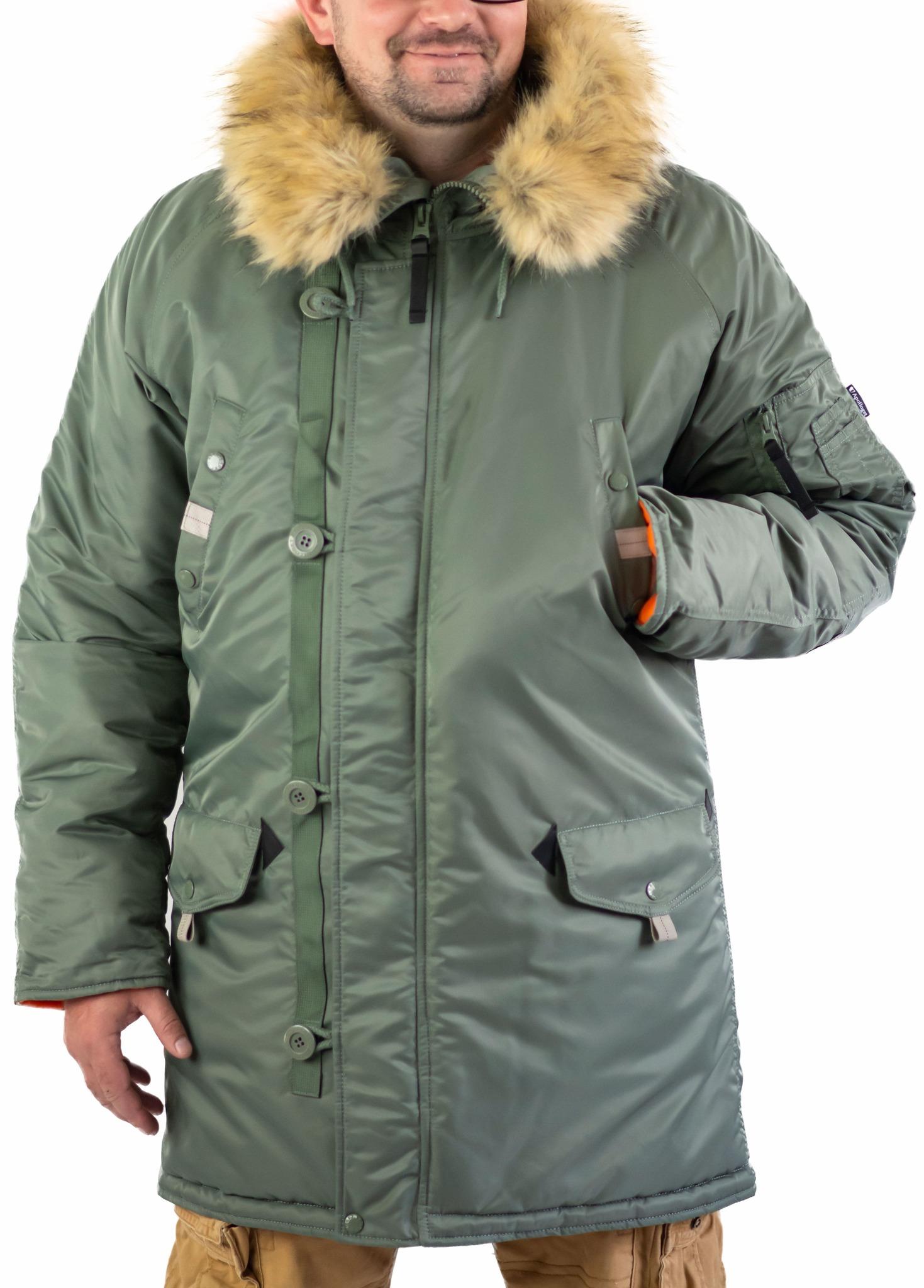Куртка Аляска удлиненная Husky Long 2019 (оливковый - olive/orange)