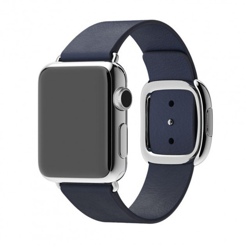 Ремешок Apple watch 38mm Modern Buckle Leather silver /midnight blue/
