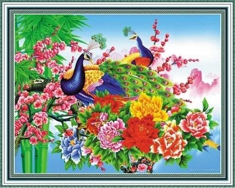 Алмазная Мозаика 40x50 Пара павлинов на цветущей ветке (арт. WXSA2650 )