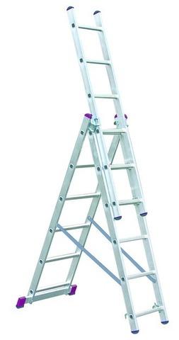Лестница алюминиевая, трехсекционная, KRAUSE CORDA 3х6