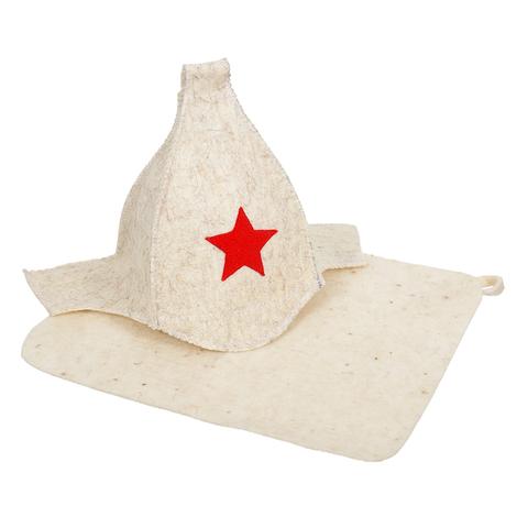Набор из 2-х предметов (Шапка Будёновка белая, коврик), войлок 100%