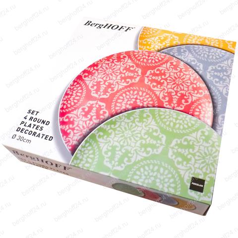 4пр набор фарфоровых декоррированных тарелок 30см