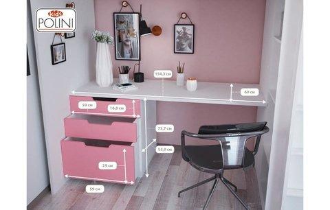Кровать-чердак Polini kids Simple с письменным столом и шкафом, белый-синий