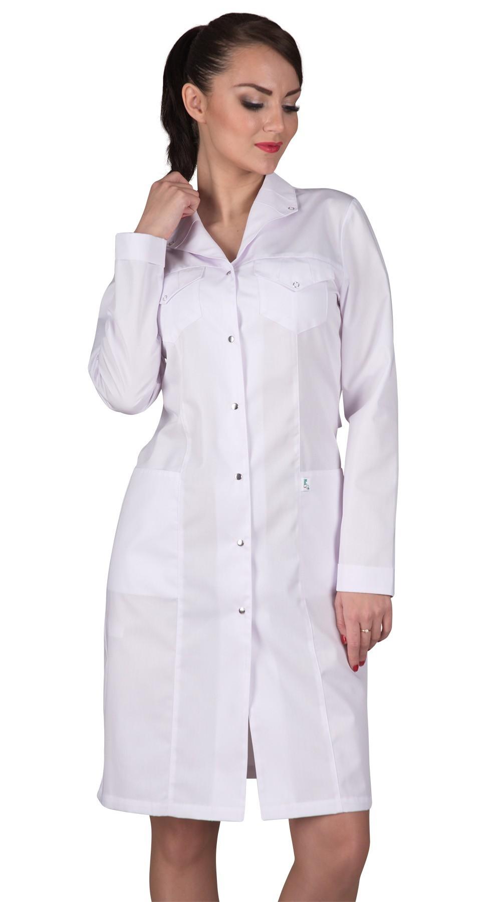 Женский медицинский халат длины до колена прямого фасона.