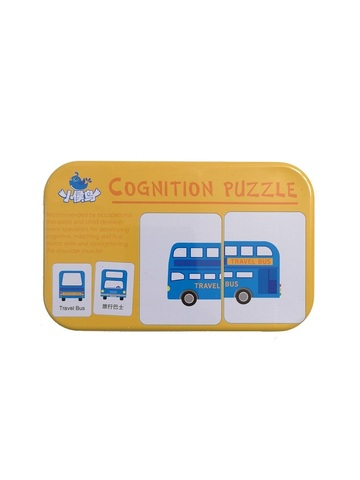 Развивающий пазл SHAPES PUZZLE Транспорт 32 элемента 16 заданий Серия Синия Птичка в жестяной коробке