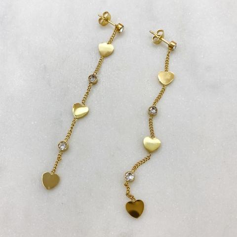 Серьги-цепочки с сердечками, сталь (золотистый)
