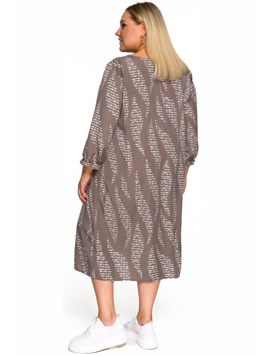 Платье с защипами Кофейная абстракция