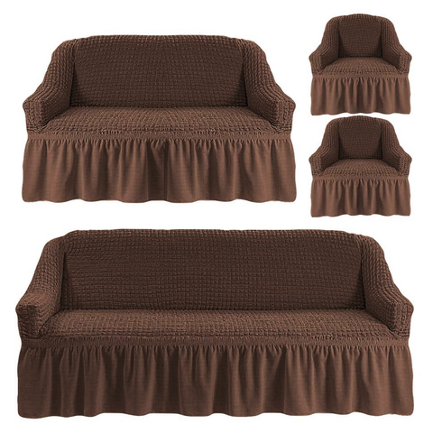 Чехлы на трехместный диван и двухместный диван + два кресла,шоколад