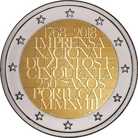 2 евро 2018 Португалия - 250 лет монетному двору