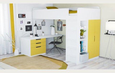 Кровать-чердак Polini kids Simple с письменным столом и шкафом, белый-солнечный