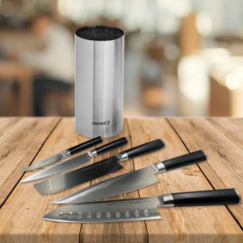 Набор из 5 кухонных ножей Samura Mo-V и подставки KBA-100