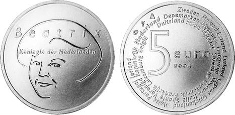 5 евро. Страны ЕС. Нидерланды. Серебро. 2004 год. В оригинальной квадрокапсуле. UNC