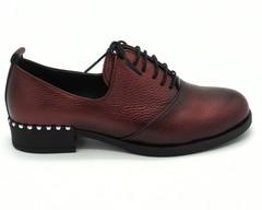 Красные полуботинки из натуральной кожи со шнурком