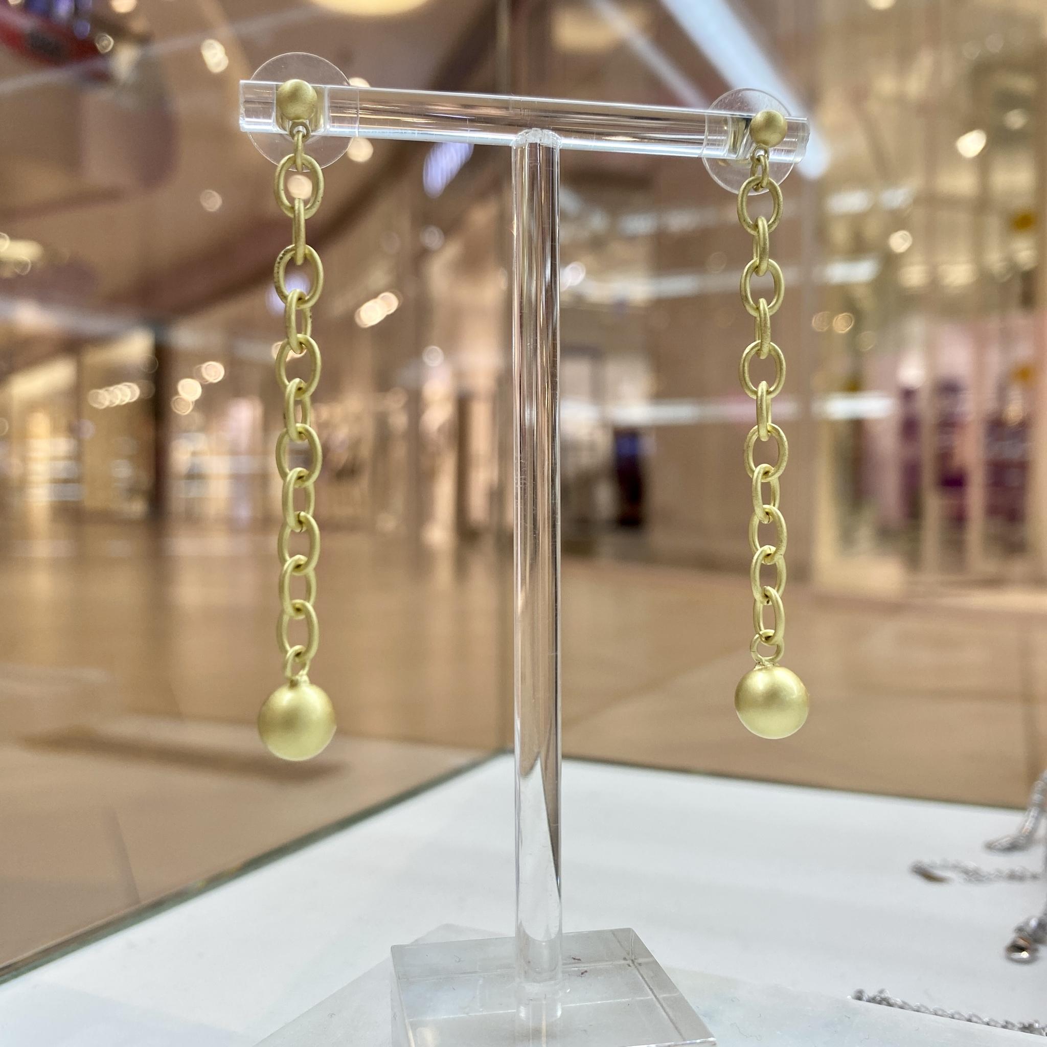 Серьги MiX цепочки матовый золотой ш925