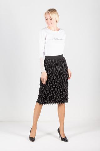 Фото праздничная черная юбка с рюшами и контрастным окаймлением - Юбка Б111-219 (1)