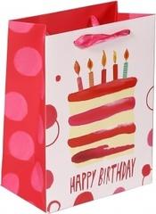 Пакет подарочный, С Днем Рождения (торт и свечи), Розовый, 23*18*10 см, 1 шт.