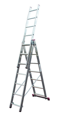 Лестница алюминиевая, трехсекционная, KRAUSE CORDA, 3х7
