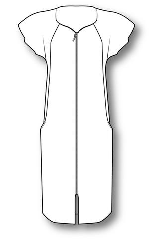 Выкройка халата со спущенной проймой и боковыми рельефами