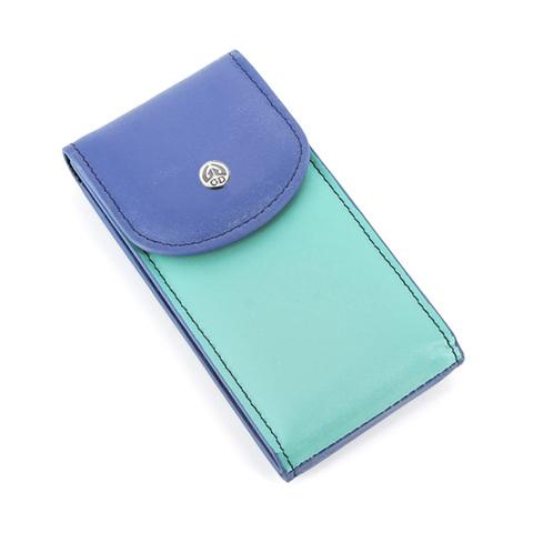 Маникюрный набор GD, 4 предмета, цвет синий/бирюзовый, кожаный футляр