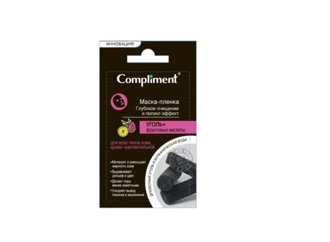 Compliment саше УГОЛЬ+ Фруктовые кислоты маска-пленка глубокое очищение и пилинг- эффект