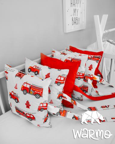 Набір бортиків-подушок в ліжечко 30x30см ПОЖЕЖНІ МАШИНИ