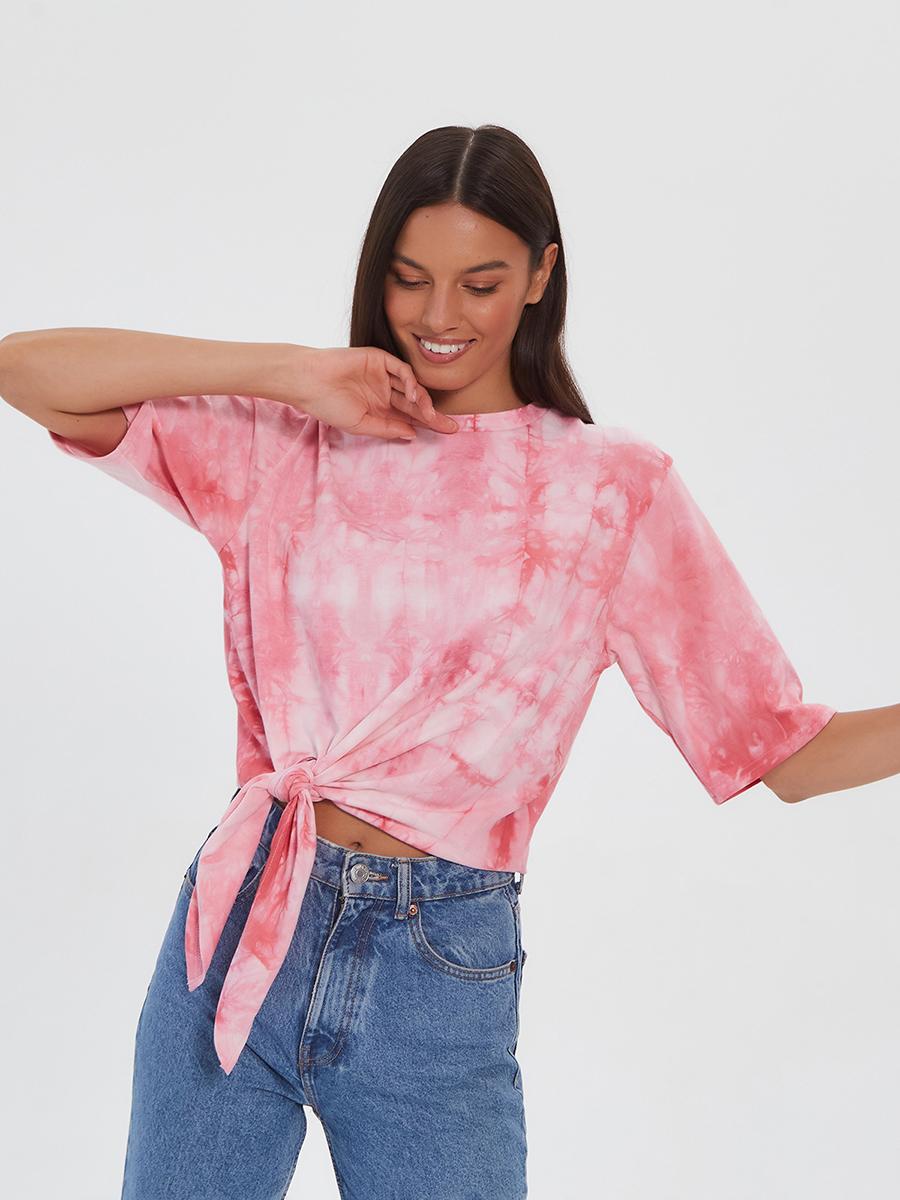 Женская футболка Brandmania с декоративными завязками по низу