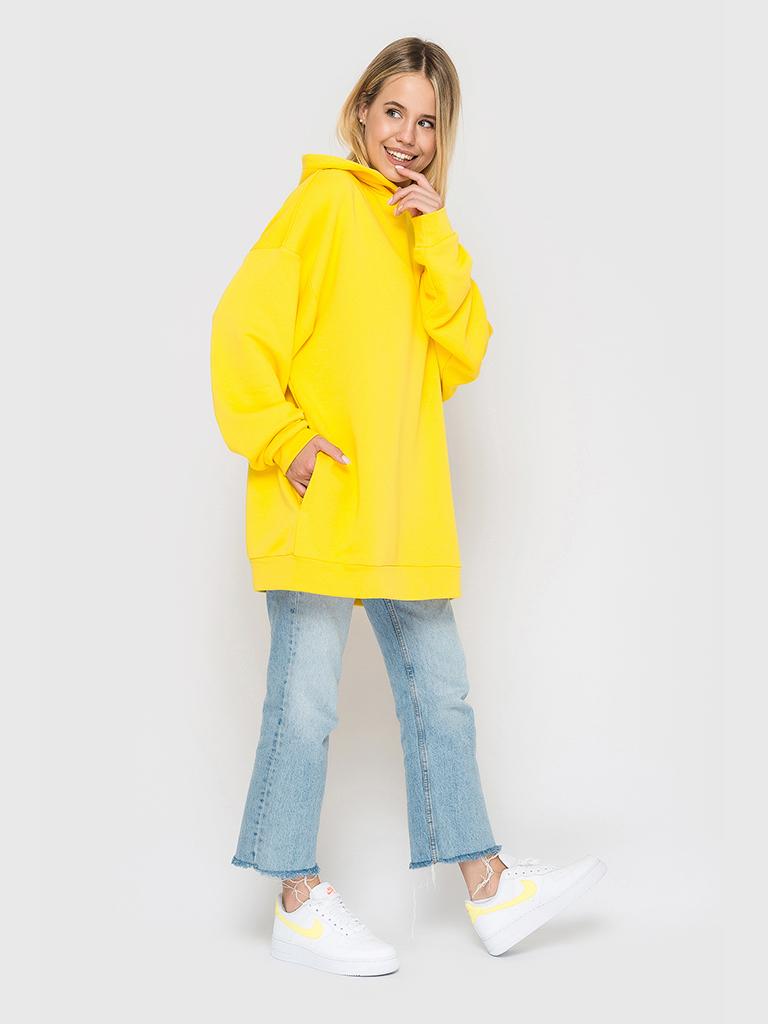 Худи трикотажное желтое YOS от украинского бренда Your Own Style