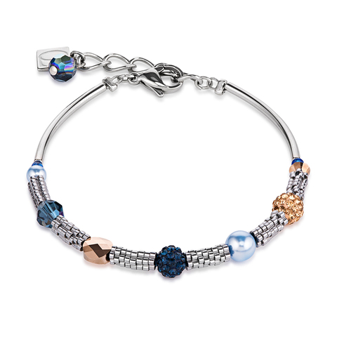 Браслет Coeur de Lion 4867/30-0721 цвет синий, голубой, серебряный, золотой