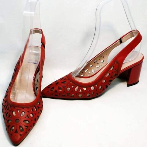Красные туфли босоножки с закрытым носком и открытой пяткой Guero-Red