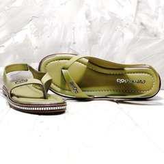 Кожаные сандали босоножки через палец Evromoda 454-411 Olive.